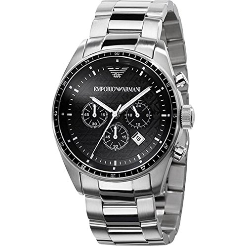 Emporio Armani Men's 'Classic' Quartz Stainless Steel Dress Watch, Color:Silver-Toned (Model: AR0585) -