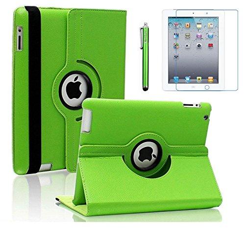 AiSMei Case for iPad 4 (2012), iPad 3 (2012), iPad 2 (2011), Rotating Stand Case Cover for Apple iPad 2, iPad 3, iPad 4 [Bonus Film+Stylus] Green