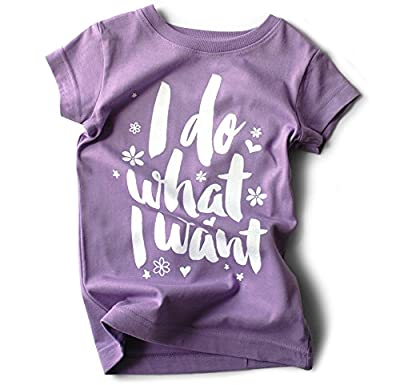 """I Do What I Want"" Purple Girls Toddler T-shirt with Funny Saying 100% Cotton 2T, 3T, 4T, 5/6T"