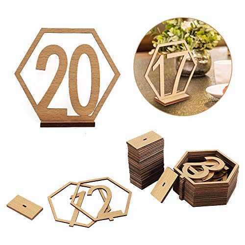 Joy-Leo 4 Inch DIY Rustic Wooden Wedding Party Table Numbers (NO. 1-20) with Sturdy Holder Base, Gold Partner of Place Cards, for Banquet Wedding Party Reception Centerpiece Decoration]()