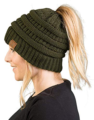BT-6020a-33 Messy Bun Womens Winter Knit Hat Beanie Tail - Olive