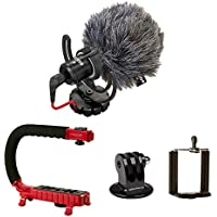 Scorpion Jr. (RED) + Rode VideoMicro BUNDLE – Compact On-Camera Microphone with Ryocote Lyre Shock Mount + Camera Handle Support