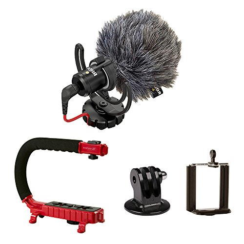 Scorpion Jr. (RED) + Rode VideoMicro BUNDLE – Compact On-Camera Microphone with Ryocote Lyre Shock Mount + Camera Handle Support (External Mic Rode)