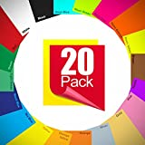 Heat Transfer Vinyl Bundle - HTV Vinyl - Iron on Vinyl for Cricut & Silhouette Cameo - 12 x 10 Inches 20 Pack in Assorted Colors Vinyl Sheets – or Use With Heat Press Machine for T-Shirts & Fabrics