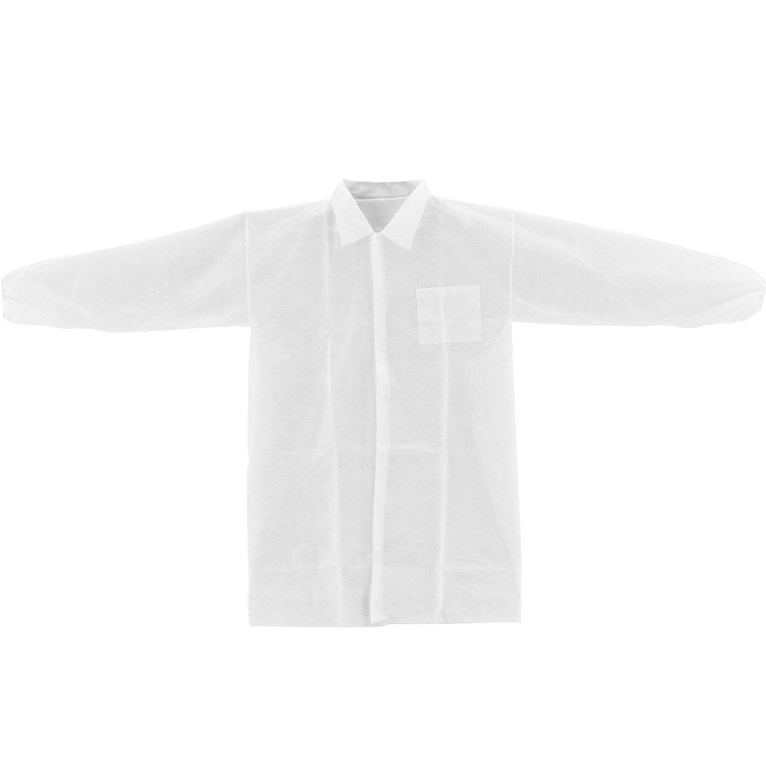 White Disposable Polypropylene Lab Coat - 1 Pocket, Elastic Wrists, Collar, Snap Closure, 39'' x 28'', 2X-Large, Pack of 25 by One Stop Shop