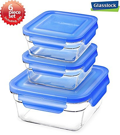 Snaplock Lid Tempered Glasslock Storage Square Containers 3pc set Combo with Blue Lid - Microwave & Oven Safe Spill Proof  (Microwave Oven Combo)