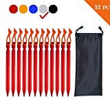 7 inch 12Pack Tent Stakes Pegs Aluminum Alloy Heavy Duty Lightweight for Outdoor Activities, Such as Camping, Hiking and Emergency Survival (RED-12PACK)