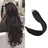 Full Shine 22' 20 Pieces 50g Per Package Double Sided Skin Weft 100% Real Human Hair Tape in Extensions Off Black Color #1B Seamless Hair Extensions