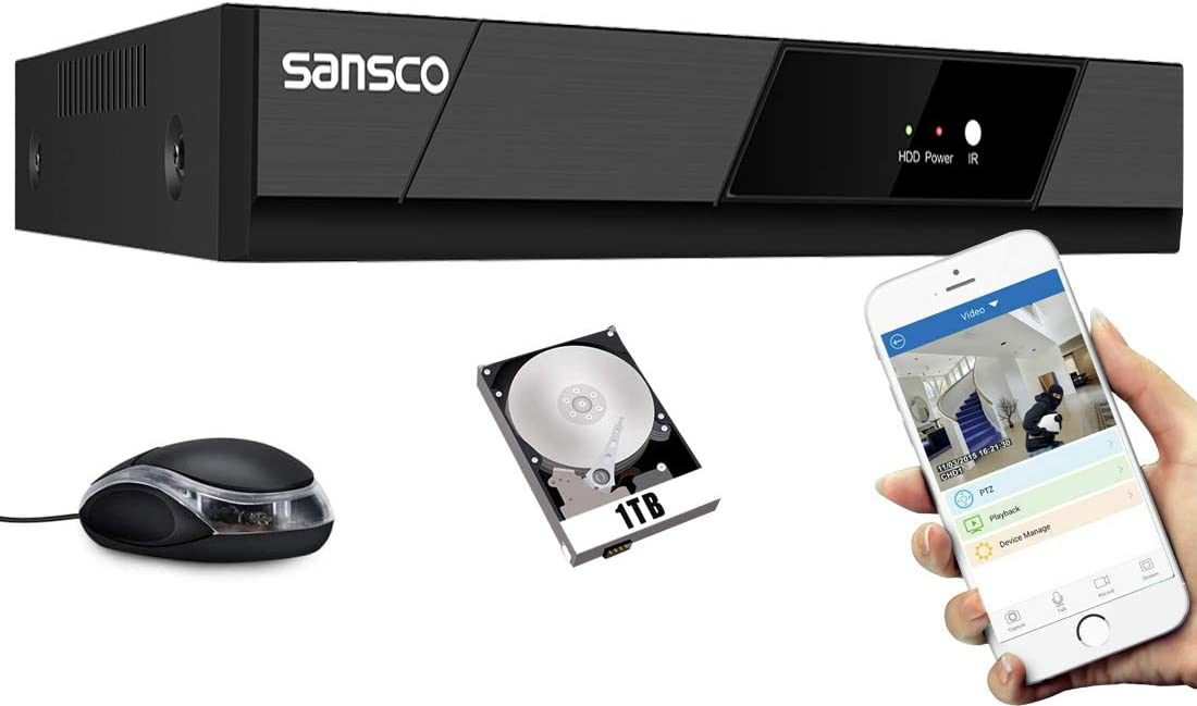SANSCO 1080P 8 Channel CCTV Security DVR Standalone Recorder, Easy Remote Access, Motion Detection, APP Push Alert, 5-in-1, Security DVR Recorder for Home Surveillance Cameras System, 1TB HDD Included