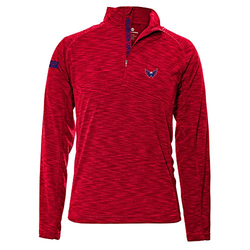 Levelwear LEY9R NHL Washington Capitals Men's Mobility Insignia Strong Style Quarter Zip Mid-Layer Apparel, Large, Flame Red