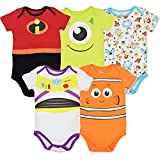 Disney Pixar Baby Boy Girl 5 Pack Bodysuits Nemo Buzz Incredibles Monsters Inc. 3-6 Months