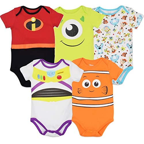 Disney Pixar Baby Boy Girl 5 Pack Bodysuits Nemo Buzz Incredibles Monsters Inc. 12 Months