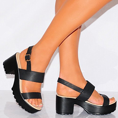Black Cleated Platforms Strappy Sandals Sling Backs Shoes High Heels WmeFf5Cy