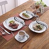 VEWEET 30-Piece Ceramic Tableware Sets Black Stripe