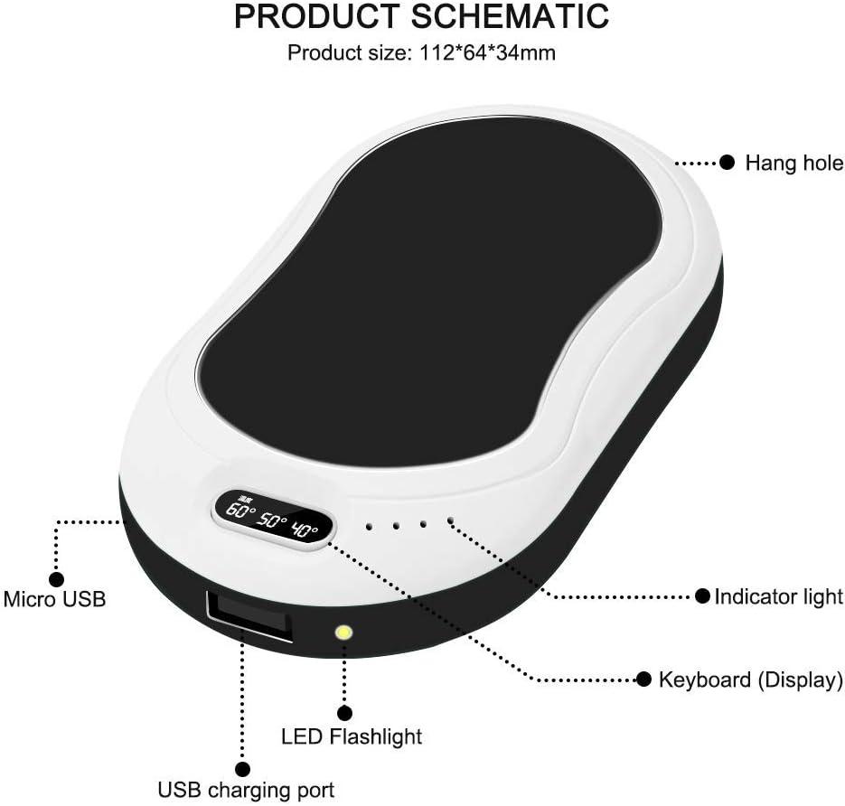 USB Invierno para la Familia 10000 mAh Calentador de Mano//Banco de energ/ía con luz LED y Masaje de batido para Personas Que sufren de Artritis Calentadores de Mano Recargables port/átil