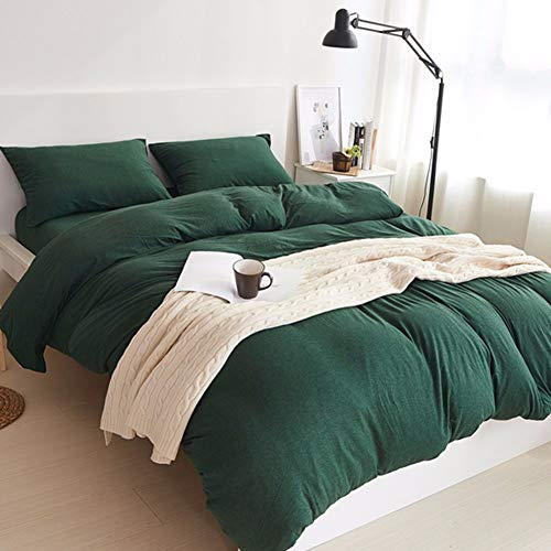 (LIFETOWN Green Duvet Cover, 100% Jersey Knit Cotton Duvet Cover Set 3 Pieces, Simple Solid Design, Super Soft and Easy Care (Full/Queen, Dark Green))