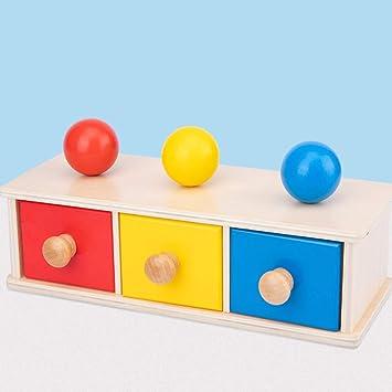 TOYANDONA Caja de Permanencia de Objetos Montessori de Madera 1Pcs con Bandeja Y Bola para Niños Pequeños Juguetes Educativos Tempranos (Cajón de Bolas de Tres Colores): Amazon.es: Juguetes y juegos