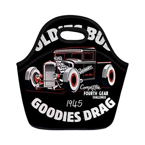 (Semtomn Neoprene Lunch Tote Bag Garage Hot Rod Car and Auto Automobile Black Cartoon Reusable Cooler Bags Insulated Thermal Picnic Handbag for Travel,School,Outdoors, Work)
