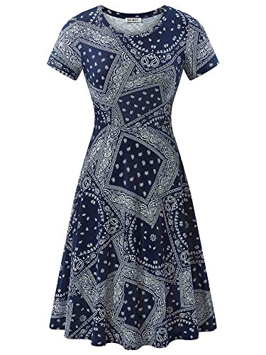 - HUHOT Bohimian Dress, Women Summer Casual Mexican Peasant Modest Midi Dress(Flower-1,Medium)