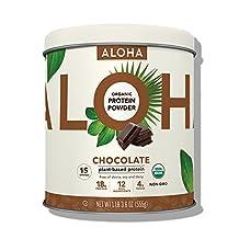 ALOHA Plant-Based Protein Powder, Chocolate, 1.14 Pound, 15 Servings