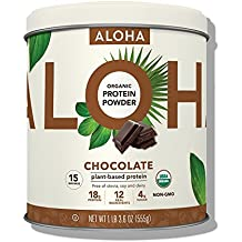 ALOHA Organic Plant Based Protein Powder, Stevia Free, Chocolate, 19.6 oz, 15 Servings