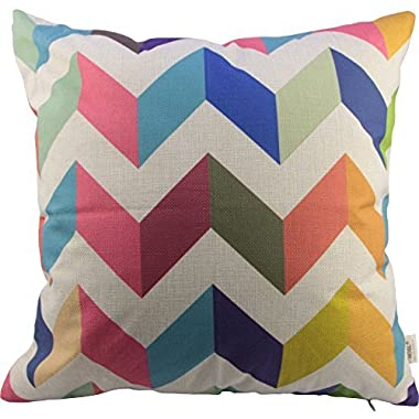 HOSL P51 Cotton Linen Throw Pillow Case Decorative Cushion Cover Pillowcase Colorful Zig Zag Chevron Fade Zigzag Stripes Wave Square