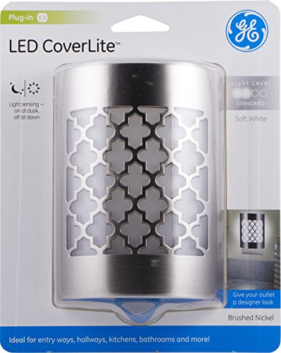 GE Moroccan LED CoverLite Brushed Nickel Finish Plug-in Auto Night Light Light Sensing Dusk to Dawn Sensor Energy-Efficient Ideal for Hallways Kitchens Bathrooms Bedrooms Offices29847