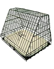 Ellie-Bo Deluxe Sloping Puppy Cage Folding Dog Crate with Non-Chew Metal Tray Fleece and Slanted Front for Car, Medium, 30 Inch, Black