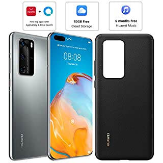 Huawei P40 Pro (5G) ELS-NX9 Dual/Hybrid-SIM 256GB (GSM Only   No CDMA) Factory Unlocked Smartphone (Silver Frost) - International Version