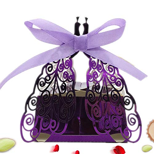 the love 50 Pcs Laser Cut Shiny Purple Peacock Creative Chocolate Box Wedding Favors Candy Boxes Gifts Box Marriage Party Decors ()