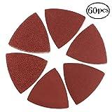 #8: Coceca 60 Pcs Triangular Hook & Loop Multitool Sandpaper for Wood Sanding Fit 3-1/8 Inch Oscillating Multi Tool Sanding Pad