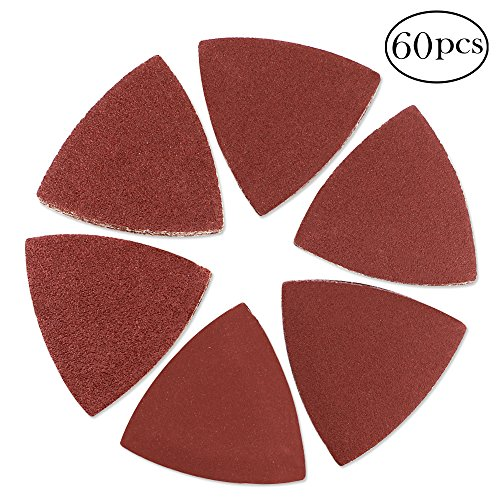 Coceca 60 Pcs Triangular Hook & Loop Multitool Sandpaper for Wood Sanding Fit 3-1/8 Inch Oscillating Multi Tool Sanding Pad