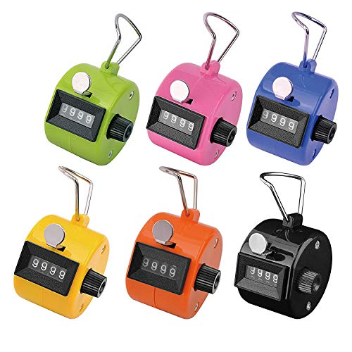 (Ktrio Pack of 6 Color Hand Tally Counter 4 Digit Tally Counter Mechanical Palm Click Counter Count Clicker Assorted Color Hand Held Counter Clicker for Sport Stadium Coach Casino and Other Event)