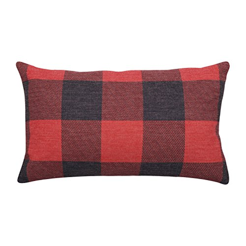 Buffalo Check Lumbar Pillow Covers Plaid Decorative Pillow Cases Square Linen Cushion Covers for Christmas New Year Home Decor Housewarming Gift (Red) (12x20) (Red Pillow Merry)