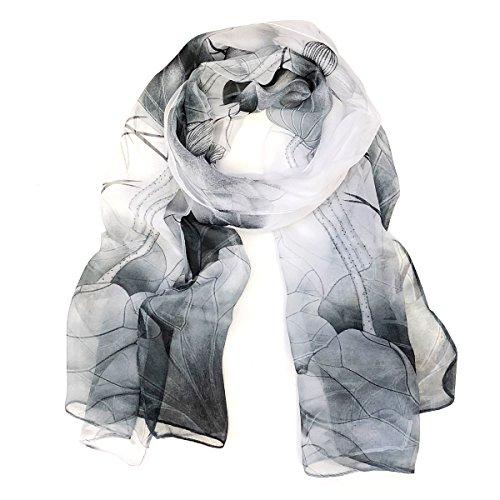 Wrapables Lightweight Sheer Silky Feeling Chiffon Scarf, Gray Lotus Flower
