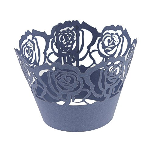 UNIQLED Pack of 50 Filigree Rose Artistic Bake Cake Paper Cups Lace Laser Cut Cupcake Wrappers Baking Cup Liners Muffin Holder Case for Birthday Wedding Party Decoration (Violet Blue)