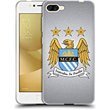 Official Manchester City Man City FC Full Colour Mosaic on Grey Crest Pixels Soft Gel Case for Zenfone 4 Max ZC520KL