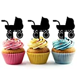 TA0130 Baby Stroller Silhouette Party Wedding Birthday Acrylic Cupcake Toppers Decor 10 pcs