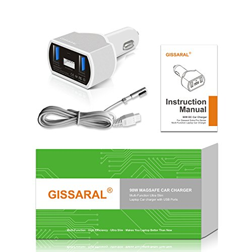 GISSARAL GISCCA-AM1 90W Laptop Car Charger for 2006 to 2012 MacBook Pro MacBook Air and MacBook; Dual USB Quick Charge for Apple or Android Smartphones and Tablets by GISSARAL (Image #8)