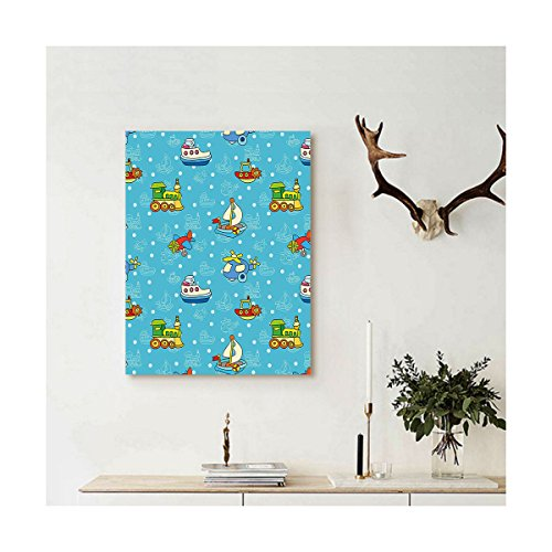 Liguo88 Custom canvas Kids Colorful Cartoon Children Toy Figures Pattern Boats Planes Trains on Blue Background Wall Hanging for Multicolor