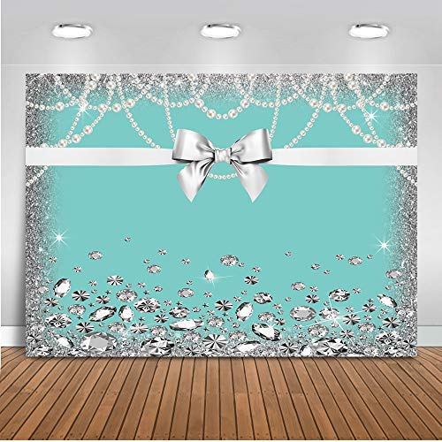 Mehofoto Breakfast Blue Bow-Knot Birthday Backdrop Sweet 16 Turquoise Bow Photography Background 7x5ft Vinyl Bridal Shower Wedding Party Banner Supplies ()