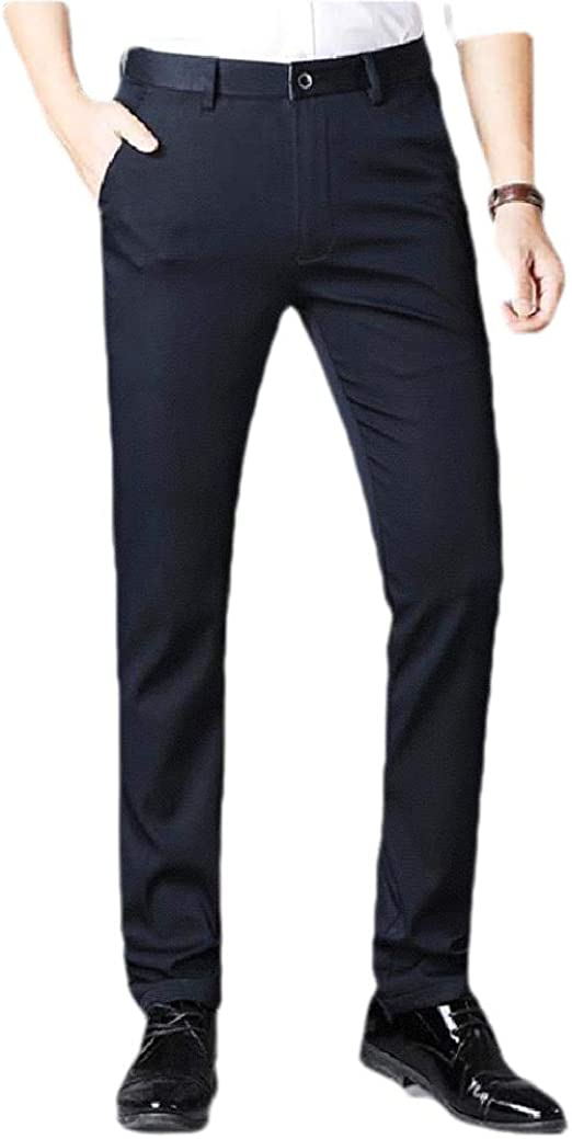 Nicellyer Men Solid Straight Middle Waist Relaxed Business Plain-Front Pant