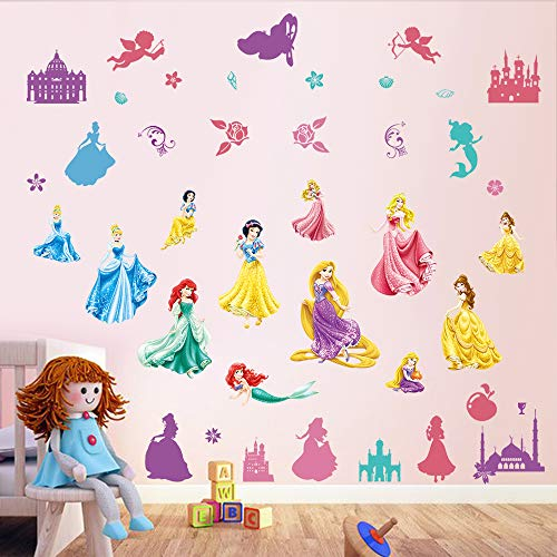 decalmile Princess Wall Stickers Castle Fairy Girls Wall Decals Baby Girls Bedroom Wall Decor