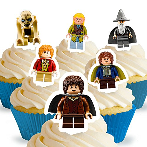 Cakeshop 12 x PRE-CUT Lego Lord of the Rings / The Hobbit Stand Up Edible Cake Toppers - Premium Wafer (Lord Of The Rings Party Supplies)