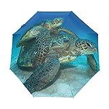 Top Carpenter Green Sea Turtle Couple Anti UV Windproof Travel Umbrella Parasol with Auto Open/Close Button