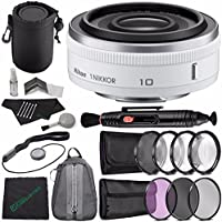 Nikon 1 NIKKOR 10mm f/2.8 Lens (White) + 52mm 3 Piece Filter Set (UV, CPL, FL) + 52mm +1 +2 +4 +10 Close-Up Macro Filter Set with Pouch + Lens Pen + Cloth + Lens Cap Keeper + SLR Lens Pouch