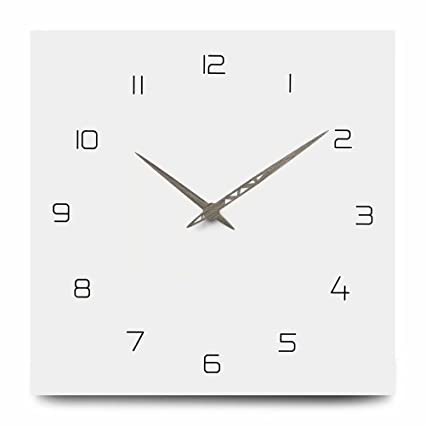 Amazoncom Florlife Large Square Wall Clock Silent Sweep No