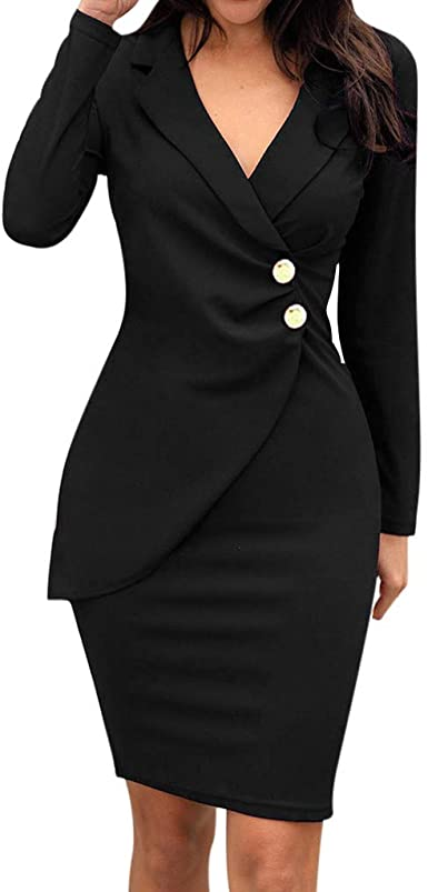 VOWUA Dresses for Women Double Breasted Button Front Business Pencil Style Long Dress for Work Casual