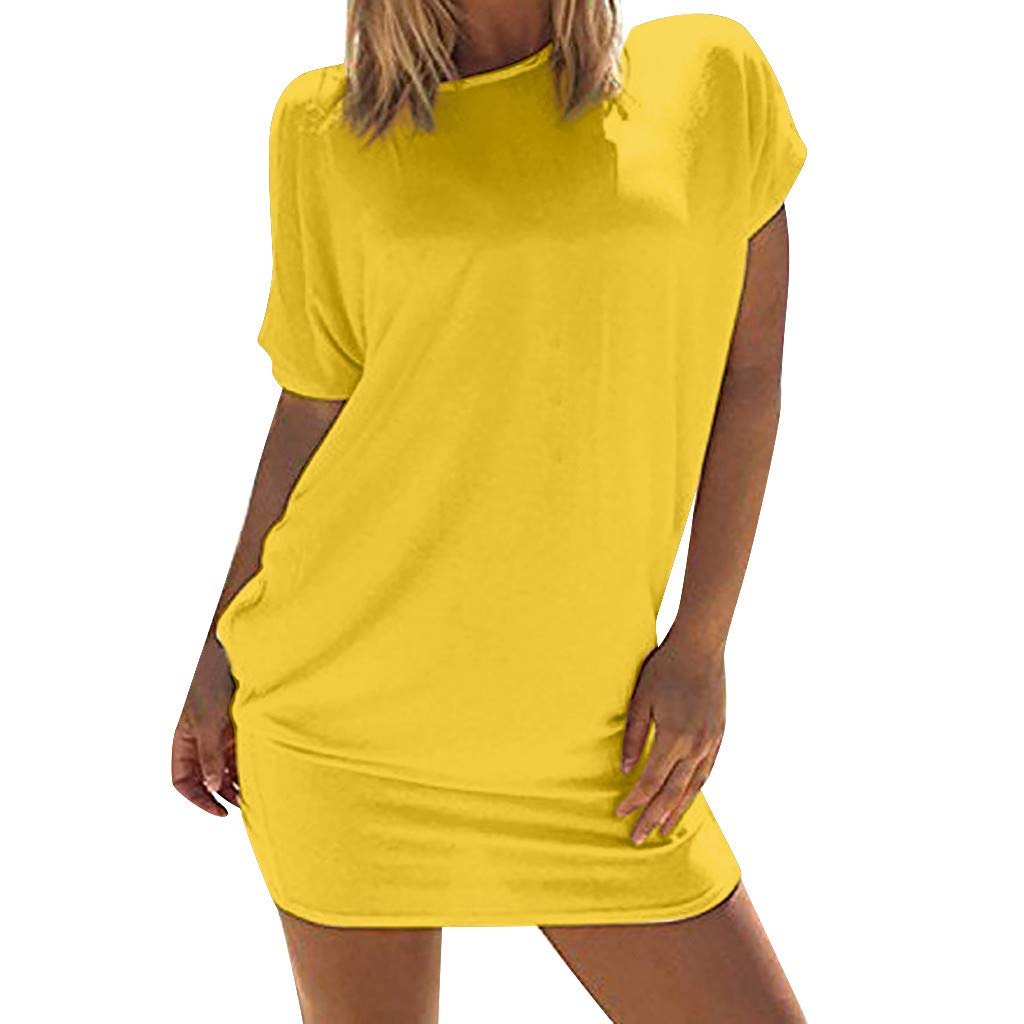 Hotkey Women's Dresses Long Sleeve Women Casual Solid Above Knee Dress Sleeve Loose Beach Party Mini Dress Yellow