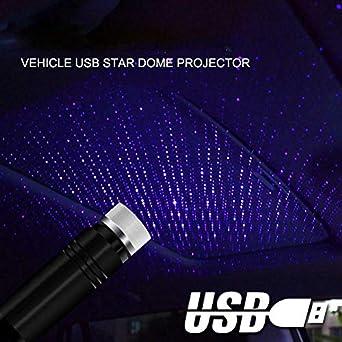 USB azul modo de iluminaci/ón ajustable apto para cualquier lugar Fancheng port/átil Blue Light Luces interiores para coche ambiente rom/ántico proyector estrellado Hex Head